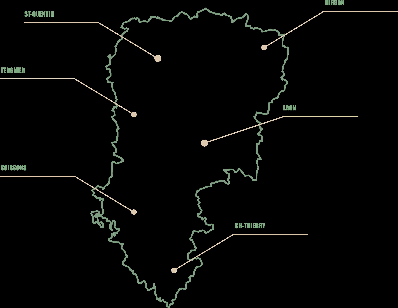 Carte de l'Aisne représentant les secteurs d'intervention de l'ADSEA